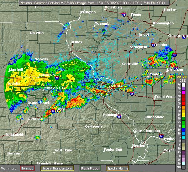 Radar Image for Severe Thunderstorms near Rosebud, MO at 7/19/2020 7:49 PM CDT