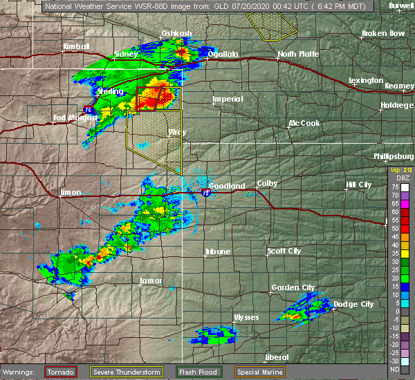 Radar Image for Severe Thunderstorms near Laird, CO at 7/19/2020 6:52 PM MDT