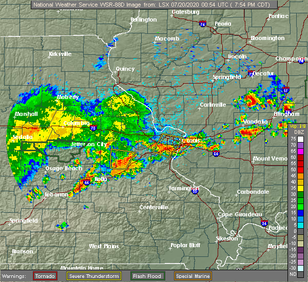 Radar Image for Severe Thunderstorms near Lakeshire, MO at 7/19/2020 7:59 PM CDT