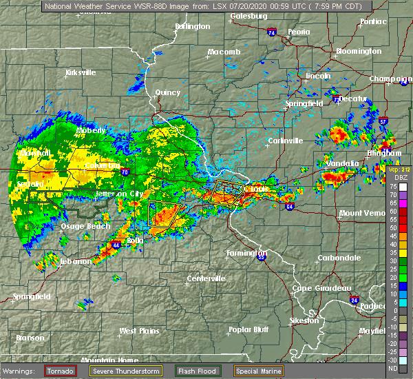 Radar Image for Severe Thunderstorms near Rosebud, MO at 7/19/2020 8:02 PM CDT