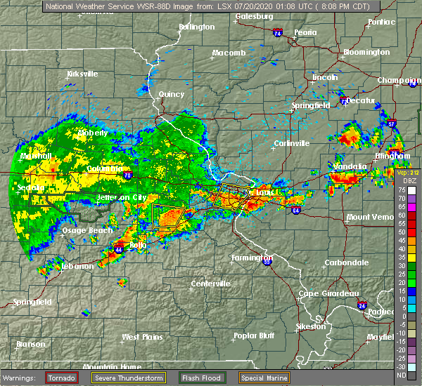 Radar Image for Severe Thunderstorms near Fairmont City, IL at 7/19/2020 8:11 PM CDT