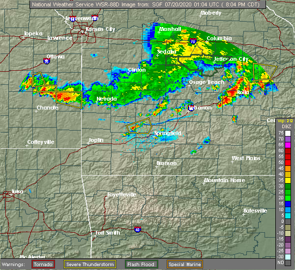 Radar Image for Severe Thunderstorms near Ash Grove, MO at 7/19/2020 8:16 PM CDT