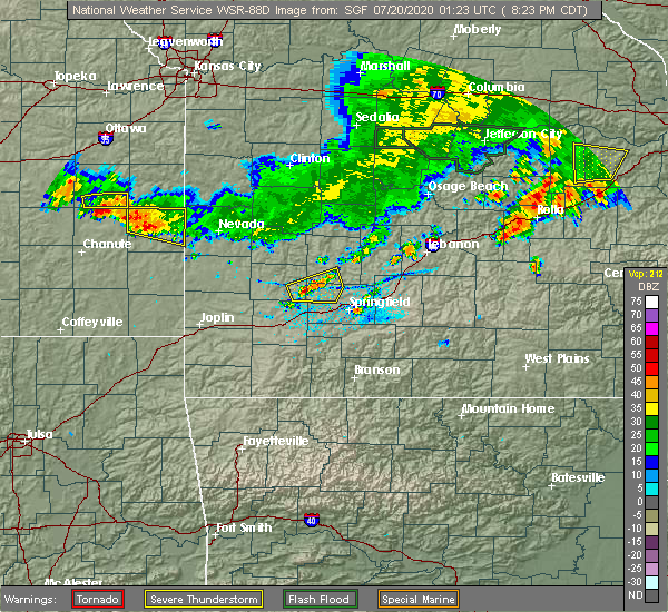Radar Image for Severe Thunderstorms near Ash Grove, MO at 7/19/2020 8:28 PM CDT