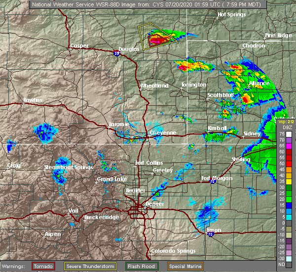 Radar Image for Severe Thunderstorms near Lusk, WY at 7/19/2020 8:00 PM MDT