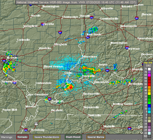 Radar Image for Severe Thunderstorms near Morganfield, KY at 7/20/2020 11:49 AM CDT