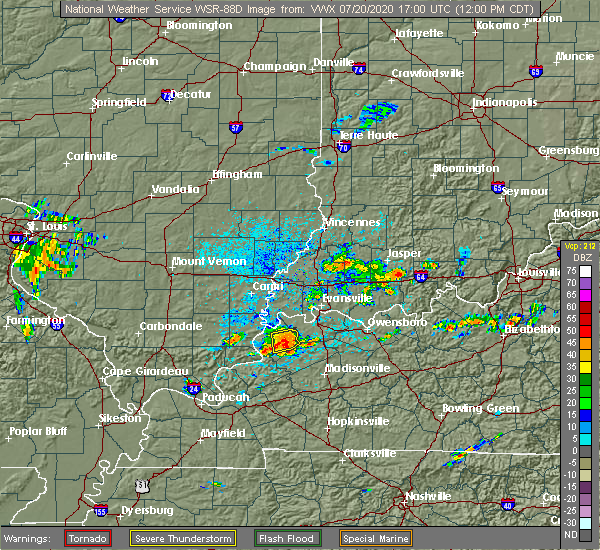 Radar Image for Severe Thunderstorms near Morganfield, KY at 7/20/2020 12:05 PM CDT