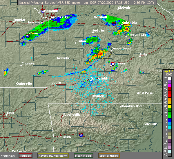 Radar Image for Severe Thunderstorms near Linn Creek, MO at 7/20/2020 12:37 PM CDT