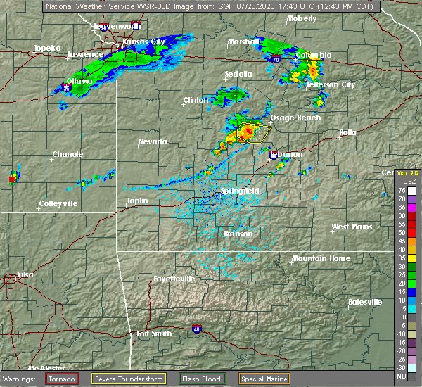 Radar Image for Severe Thunderstorms near Linn Creek, MO at 7/20/2020 12:48 PM CDT