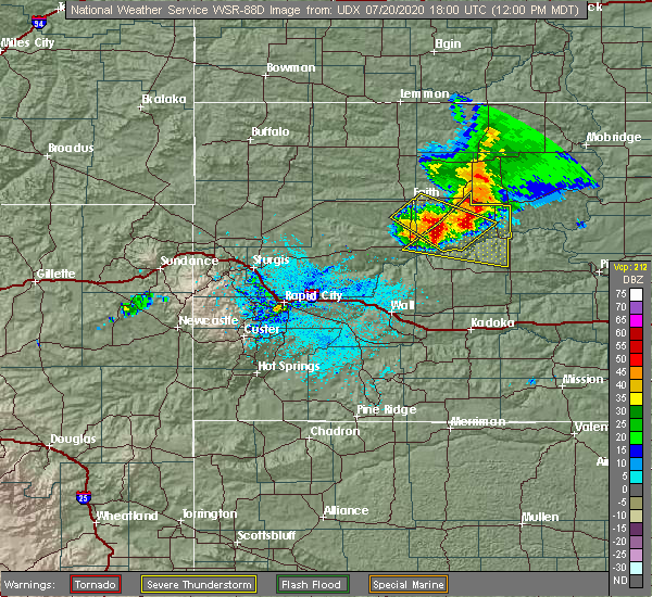 Radar Image for Severe Thunderstorms near Eagle Butte, SD at 7/20/2020 12:07 PM MDT