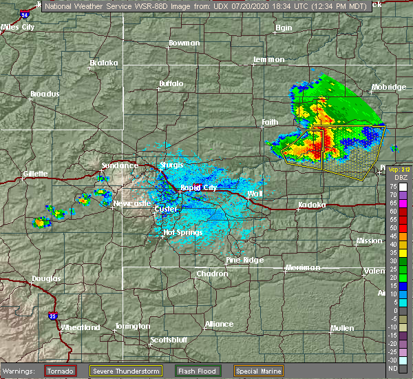 Radar Image for Severe Thunderstorms near Eagle Butte, SD at 7/20/2020 12:37 PM MDT