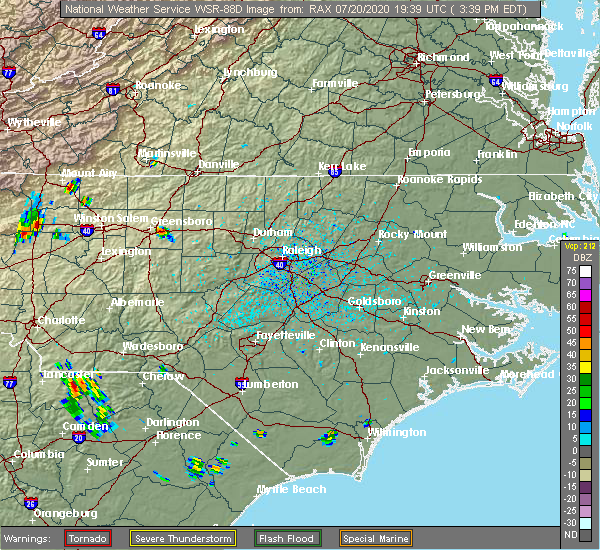 Radar Image for Severe Thunderstorms near Greensboro, NC at 7/20/2020 3:43 PM EDT