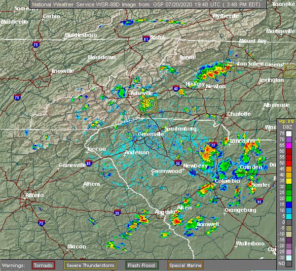 Radar Image for Severe Thunderstorms near Edneyville, NC at 7/20/2020 3:52 PM EDT