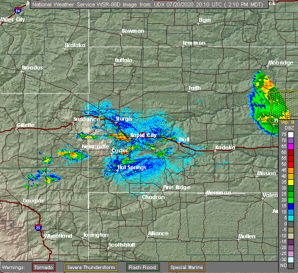 Radar Image for Severe Thunderstorms near Colonial Pine Hills, SD at 7/20/2020 2:17 PM MDT