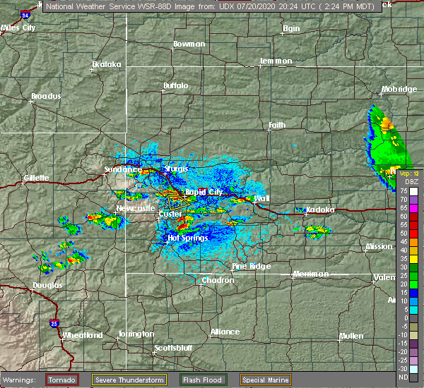 Radar Image for Severe Thunderstorms near Rapid City, SD at 7/20/2020 2:30 PM MDT