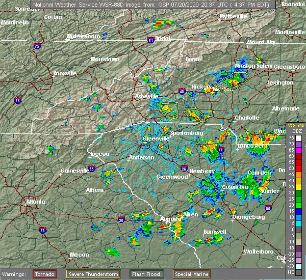 Radar Image for Severe Thunderstorms near Saxon, SC at 7/20/2020 4:44 PM EDT