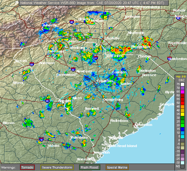 Radar Image for Severe Thunderstorms near Mineral Springs, NC at 7/20/2020 4:52 PM EDT