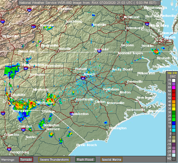 Radar Image for Severe Thunderstorms near Carthage, NC at 7/20/2020 5:08 PM EDT