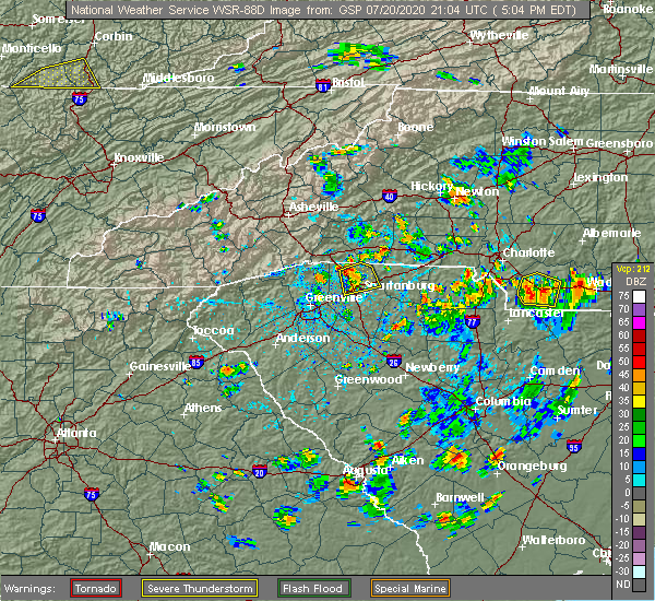 Radar Image for Severe Thunderstorms near Charlotte, NC at 7/20/2020 5:09 PM EDT