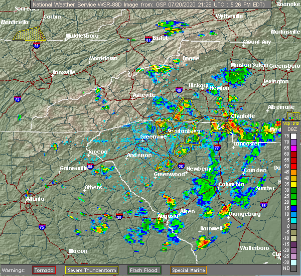 Radar Image for Severe Thunderstorms near Concord, NC at 7/20/2020 5:31 PM EDT