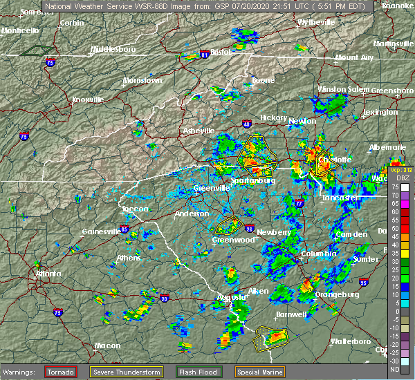 Radar Image for Severe Thunderstorms near Mooresboro, NC at 7/20/2020 5:55 PM EDT