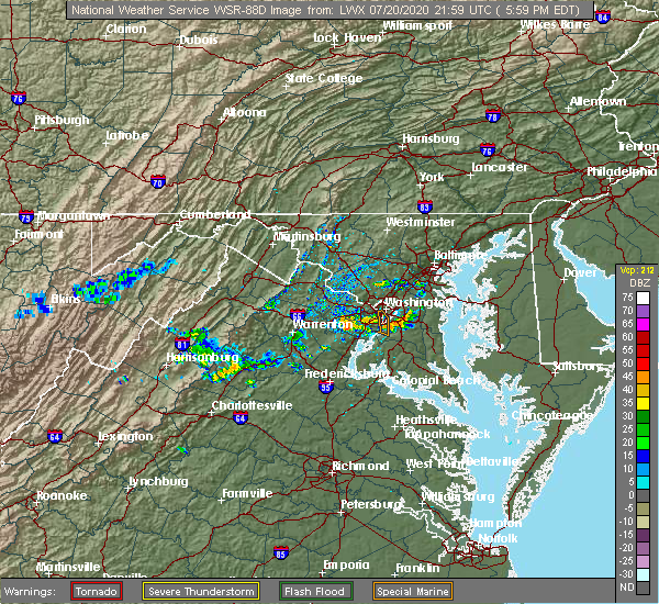 Radar Image for Severe Thunderstorms near Woodlawn, VA at 7/20/2020 6:10 PM EDT