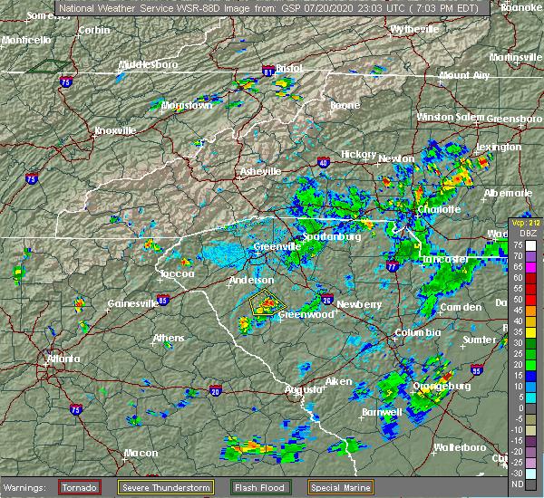 Radar Image for Severe Thunderstorms near Donalds, SC at 7/20/2020 7:18 PM EDT