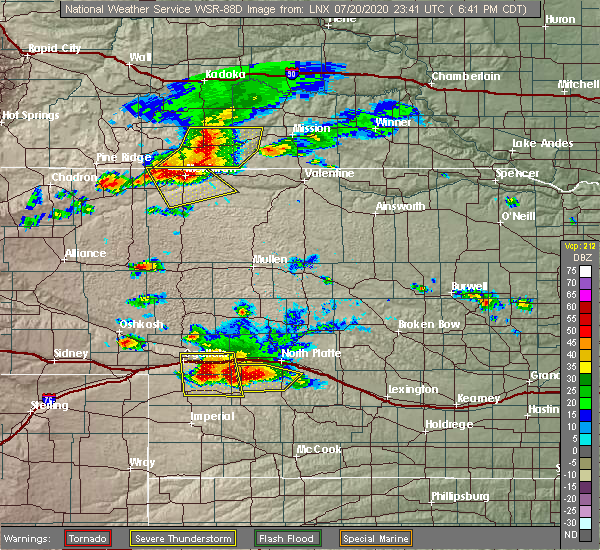 Radar Image for Severe Thunderstorms near Wallace, NE at 7/20/2020 6:49 PM CDT