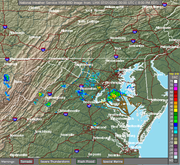 Radar Image for Severe Thunderstorms near Woodlawn, VA at 7/20/2020 8:08 PM EDT