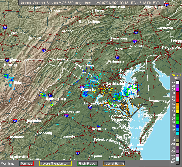 Radar Image for Severe Thunderstorms near Wakefield, VA at 7/20/2020 8:28 PM EDT