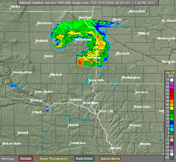 Radar Image for Severe Thunderstorms near Egan, SD at 7/20/2020 7:30 PM CDT