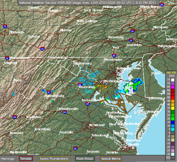 Radar Image for Severe Thunderstorms near Woodlawn, VA at 7/20/2020 8:40 PM EDT