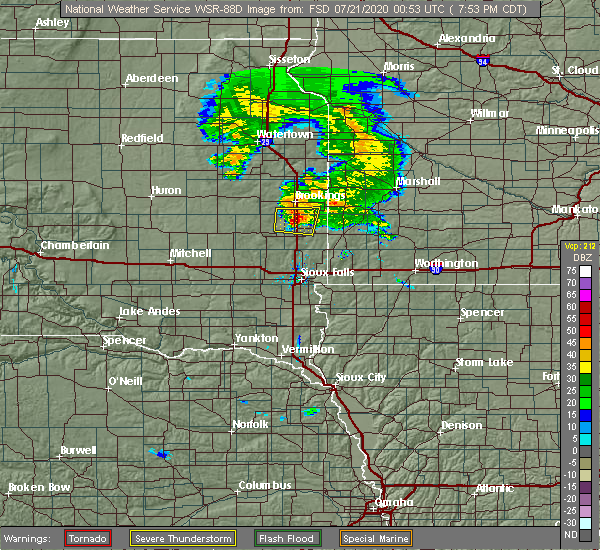 Radar Image for Severe Thunderstorms near Egan, SD at 7/20/2020 8:00 PM CDT