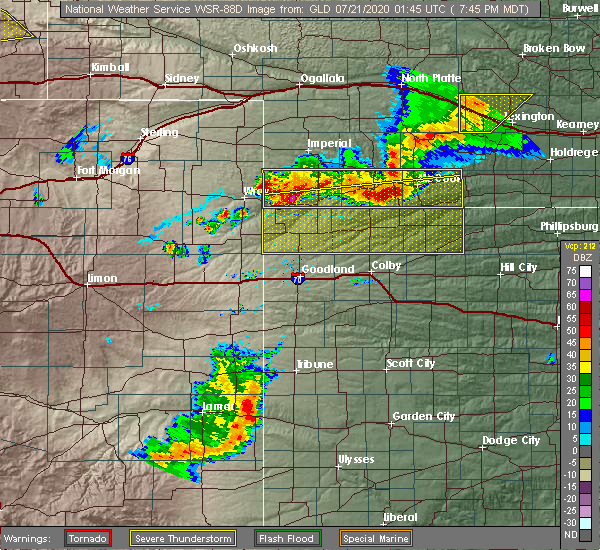 Radar Image for Severe Thunderstorms near Oberlin, KS at 7/20/2020 8:51 PM CDT