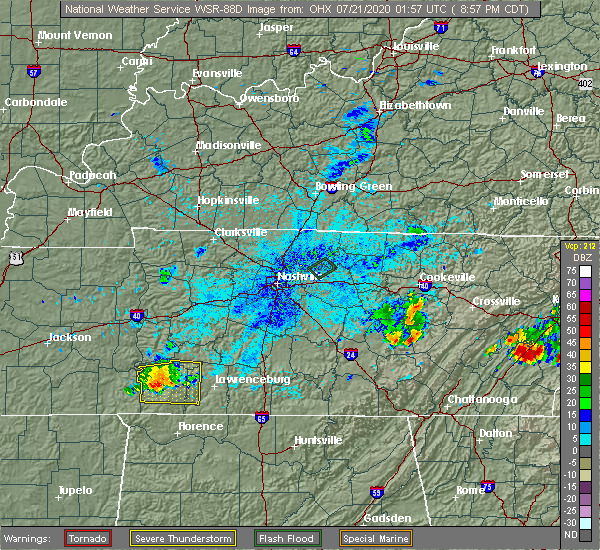 Radar Image for Severe Thunderstorms near Clifton, TN at 7/20/2020 9:01 PM CDT
