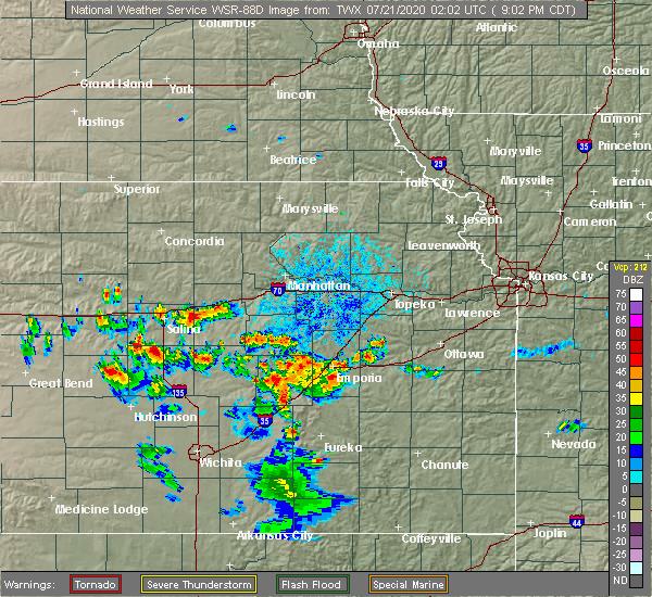 Radar Image for Severe Thunderstorms near Americus, KS at 7/20/2020 9:10 PM CDT