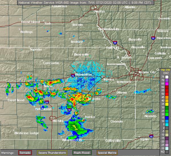 Radar Image for Severe Thunderstorms near Abilene, KS at 7/20/2020 9:13 PM CDT