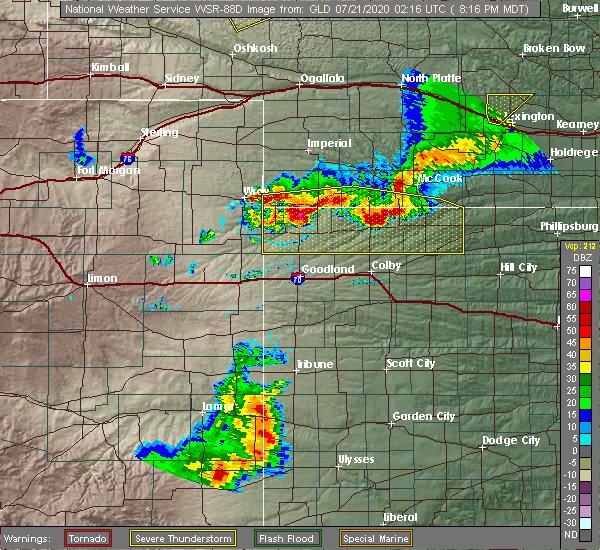 Radar Image for Severe Thunderstorms near Oberlin, KS at 7/20/2020 9:20 PM CDT