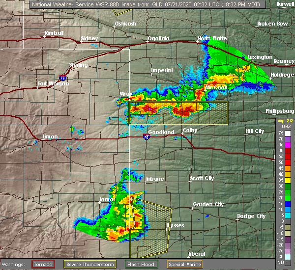 Radar Image for Severe Thunderstorms near Selden, KS at 7/20/2020 9:40 PM CDT
