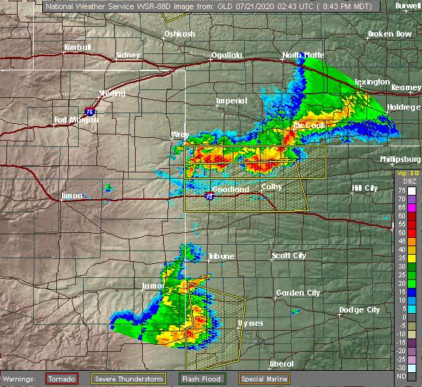 Radar Image for Severe Thunderstorms near Bird City, KS at 7/20/2020 9:49 PM CDT