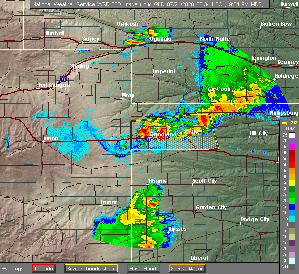 Radar Image for Severe Thunderstorms near Goodland, KS at 7/20/2020 9:44 PM MDT
