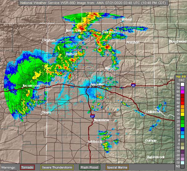 Radar Image for Severe Thunderstorms near Hooker, OK at 7/20/2020 10:51 PM CDT