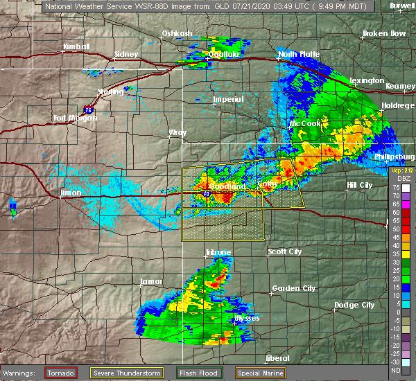 Radar Image for Severe Thunderstorms near Goodland, KS at 7/20/2020 10:54 PM CDT