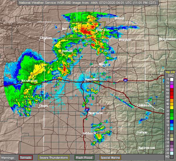 Radar Image for Severe Thunderstorms near Hooker, OK at 7/20/2020 11:08 PM CDT