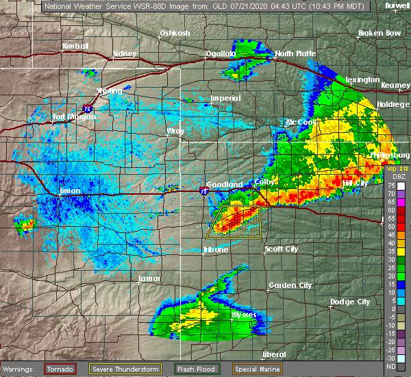 Radar Image for Severe Thunderstorms near Winona, KS at 7/20/2020 11:54 PM CDT