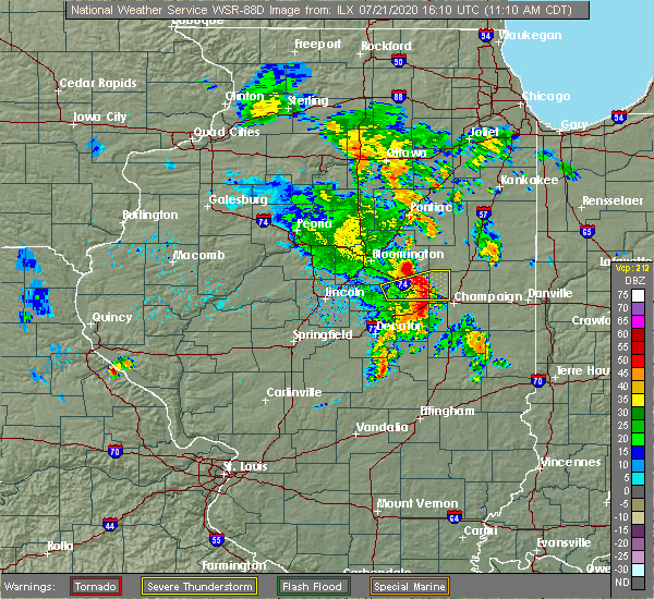 Radar Image for Severe Thunderstorms near Lake of the Woods, IL at 7/21/2020 11:16 AM CDT