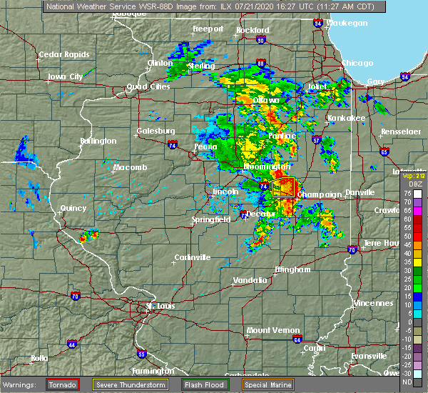 Radar Image for Severe Thunderstorms near Champaign, IL at 7/21/2020 11:32 AM CDT