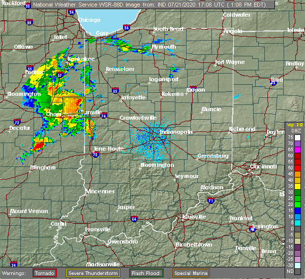 Radar Image for Severe Thunderstorms near Pine Village, IN at 7/21/2020 1:12 PM EDT