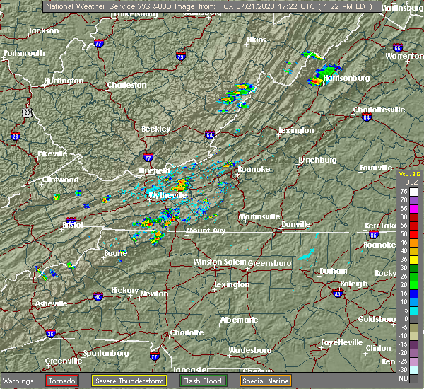 Radar Image for Severe Thunderstorms near Woodlawn, VA at 7/21/2020 1:32 PM EDT