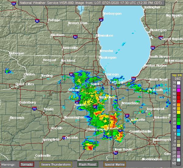 Radar Image for Severe Thunderstorms near Oxford, IN at 7/21/2020 1:37 PM EDT