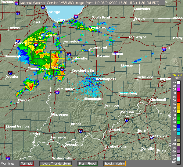 Radar Image for Severe Thunderstorms near Pine Village, IN at 7/21/2020 1:36 PM EDT